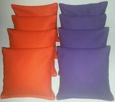 SET OF 8 ORANGE & PURPLE CLEMSON HALLOWEEN CORNHOLE BEAN BAGS FREE SHIPPING!!