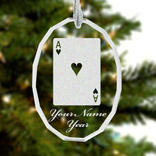 Personalized Engraved Glass Christmas Ornament - Ace of Hearts, Poker, Card