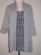 PLUS SIZE WOMENS BEAUTIFUL LAYERED TOP NWT NEW SIZE 4X MARBLED GRAY BLACK