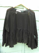 OSFA W RITANOTIARA BLACK COTTON PRAIRIE GYPSY TANK LONG SLEEVES OVER TOP BOHO