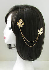 Gold Leaf Hair Chains Clips Headpiece Vintage 1920s Grecian Flapper Roman U19