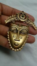 Pretty  vtg  statement Avon tribal mask crystal  gold tone pin brooch