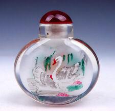 Peking Glass Inside *Swans & Ducks* Reverse Hand Painted Snuff Bottle #01171601