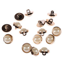 20 x 13mm Acrylic Pearl Buttons Light Gold Rim Round Sew on Beads Dress Making