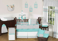 Unique modern gray turquoise and white chevron baby boy or girl crib