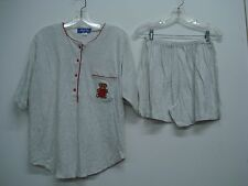 Nancy King Lingerie 2 Piece Pajama Shorts & Top Set Size L Grey w/ Red #560N