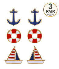 EARRINGS Nautical Theme Anchor Boat Colorful  3 Pair Set Pierced Post Earrings
