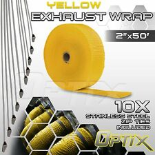 """2"""" x 50FT Manifold Header Exhaust Thermal Heat Tape Wrap + Ties - Yellow (L)"""