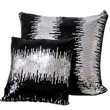 "Silver Sequin Sofa Cushion Beaded Cushion Cover Black Throw Pillow Case 17""x17"""