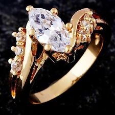 Fashion Love Flawless Gold Filled Cubic Zirconia Womens Wedding Ring Size 7.75