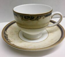 Tea or Coffee Cup & Saucer, Wedgwood Bone China Cornucopia Pattern -Blue Gold