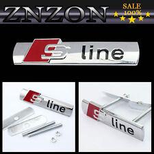 NEW Silver Sline Logo 3D Metal Front Hood Grill Grille Badge Emblem For AUDI