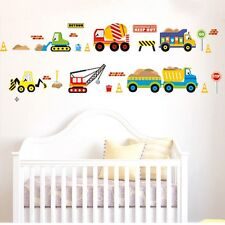 Cartoon Construction Site Trucks Removable Wall Sticker Mural Kid Decor Decals