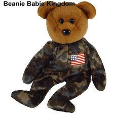 """TY BEANIE BABIE * HERO * THE 6"""" USA  ARMED FORCES TEDDY BEAR - FLAG ON CHEST"""
