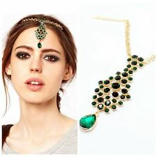 Princess Classic Forehead Jewelry Green Gem Chain Head-wear Headband New Arrival