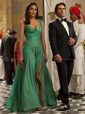 A-line Chiffon One shoulder Floor-length Split Front Prom Dresses Teal Blue 12