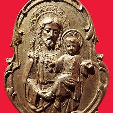 LARGE ST JOSEPH & BABY JESUS MEDAL OLD ART NOVEAU SPANISH CATHOLIC PENDANT