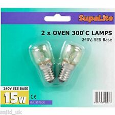 2x SupaLite 300°C Cooker Oven Appliance Lamp Bulb 15W 240V SES Base (E14)