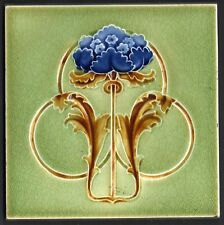 Very stilish Original period antique 6x6 Art Nouveau Majolica tile Blue Flower