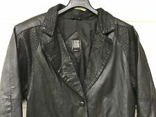 MENS BLACK 100% LEATHER JACKET GREG BELL SMALL LONG TIGER STRIPES LAPEL 3 BUTTON