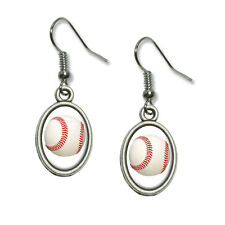 Baseball Ball - Novelty Dangling Drop Oval Charm Earrings