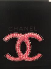 CHANEL red & white tweed CC brooch. 100% Authentic. Beautiful Gift