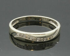 9Ct White Gold Diamond(0.10ct) Ring/Band (Size V) 4mm Wide
