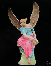 HAND COLOURED Glass Magic Lantern Slide STATUE OF ANGEL WITH WREATH C1890 PHOTO