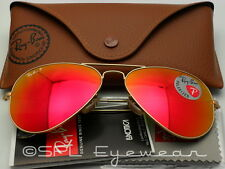 Ray Ban Aviator RB3025 112/4D 58-14 Matte Gold Polarized Red Mirror Lens 58 mm