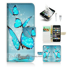 iPhone 5 5S Print Flip Wallet Case Cover! Beautiful Butterfly Blue P0225