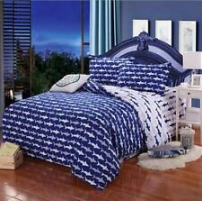 45cm Blue Shark Queen Size Bed Set Pillowcases Quilt Duvet Cover Sea Bag In Bed