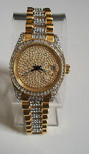 Mens Designer Style hip hop CZ Bling clubbing  Gold/Silver finish  date watch