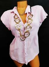 U* converse pink white sheer striped short sleeves pleated button down shirt XL