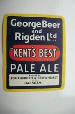 A GEORGE BEER AND RIGDENS FAVERSHAM BEER BOTTLE LABEL BOTTLED IN HAILSHAM