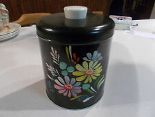 Ransburg Hand Painted Metal Kitchen Large Canister Flowers on Black Vintage