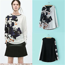 NEW Women's Korean Fashion Printed Top Long Sleeve Tunic Tops T-Shirt Blouse  S