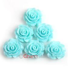 12 Blau Harz Resin Cabochons Rose Blumen Perlen 18mm zum Kleben 111573