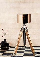 Designer TEAK IN LEGNO VINTAGE NAUTICO Desk / Floor Lampada Treppiede Lampada Illuminazione