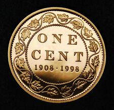 90th anniversary of mint 1908-1998 1 cent silver with copper coating - rare