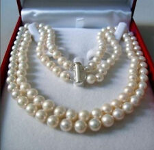 "2 Rows 8-9 MM AKOYA SALTWATER PEARL NECKLACE 17-18""k36"