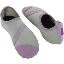 FitKicks Foldable Flat Active Shoes, Grey/Lavender, Womens Large 8.5 - 9.5