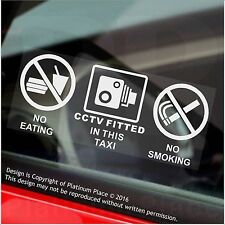 2 x No Eating,Drinking,CCTV Fitted Stickers-Taxi,Minicab Cab Notice Sign-50mm