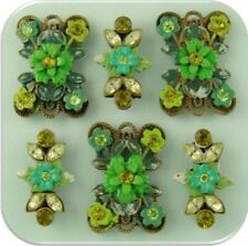2 Hole Slider Beads Flowers Floral Designer Green Olivine Peridot Crystals QTY 6