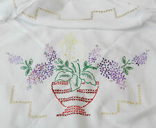 Vintage / Retro Embroidered Heavy Cotton / Linen Table Cloth / Tablecloth c1950s