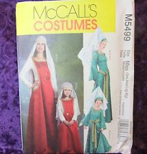 McCall's 5499 M5499 Royal Medieval Costume Sewing Pattern Dress Hat Miss S-M-L-X