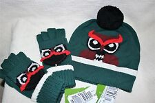 NEW Kate Spade New York Who Me Owl Lily Pad Green Wool Beanie Hat Cover gloves