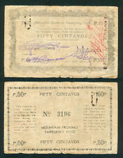 Philippine 50 Centavos Mountain Province COUNTERSIGNED WW2 Note June 1943