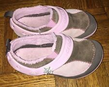 Crocs Dawson Slip On Pink Brown Suede Shoes Children's Girls Size 10