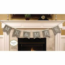 New Mr & And Mrs Burlap Bunting Banner Wedding Reception Venue Decoration Rustic