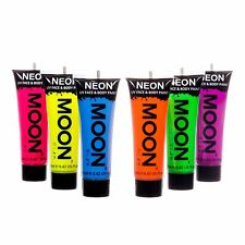 Moon Glow Neón intenso FACE & BODY UV Pintura Festival Rave Fiesta Conjunto de 6 X 12ml